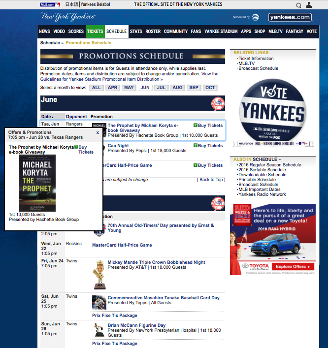 photo about New York Yankees Printable Schedule identified as Yankees guide Giveaway towards 10,000 Lovers - BookShout